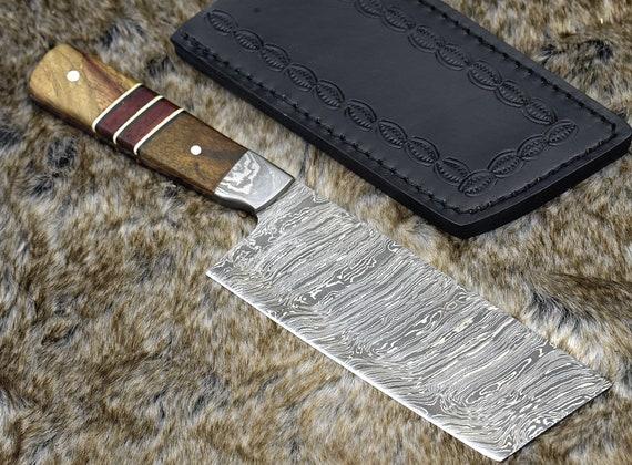 "DAMASCUS NAKIRI KNIFE 10.5"", Exotic Mango burl & African Padauk wood Composite Handle, Chef knife cleaver knife"