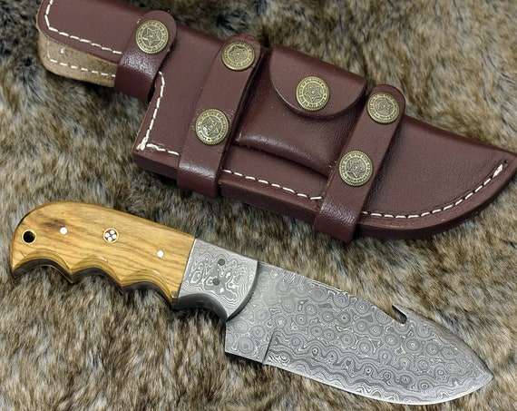 "10"" CUSTOM DAMASCUS GUT Hook Knife, Hunting Fishing Camping Utility Knife, Exotic Olive Wood Handle personalized gift"
