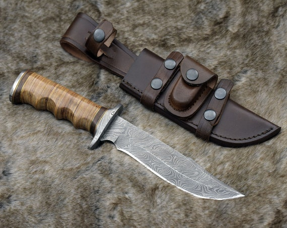 """CUSTOM DAMASCUS KNIFE, Hand Made, 12.0"""" Damascus steel hunting knife, Bowie knife, Damascus Guard and stacked leather handle, full tang"""