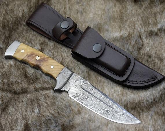 "Hunting Knife, Skinning Knife, Damascus Knife, Damascus steel blade 10"" Custom Olive wood handle full tang skinner w leather sheath TW21"