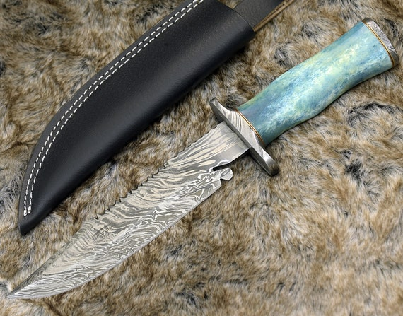 """DAMASCUS HUNTING KNIFE, Custom Bowie knife, 12.5"""" ,Hand Made, Damascus steel knife, personalized gift, Exotic Camel bone handle, full tang"""