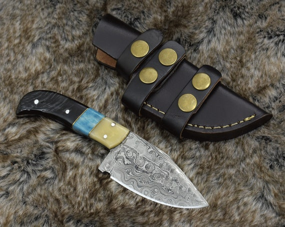 "DAMASCUS KNIFE, DAMASCUS steel knife, damascus hunting knife, Skinning knife, hunting knife 7.5"" 3491-5 personalize"