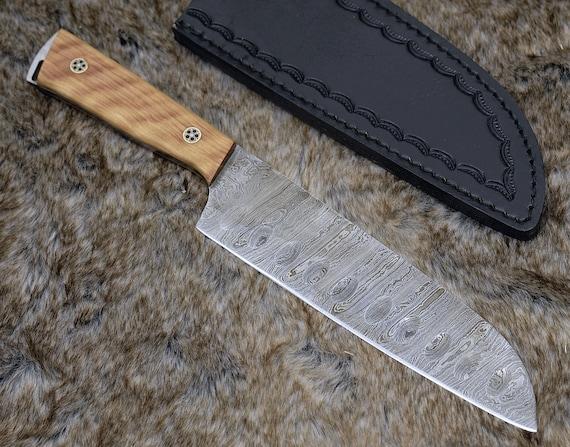 """DAMASCUS SANTOKU KNIFE, Pro chef knife, 11.5"""" Custom, Exotic Olive Wood handle, Japanese Santoku kitchen knife  personalized"""