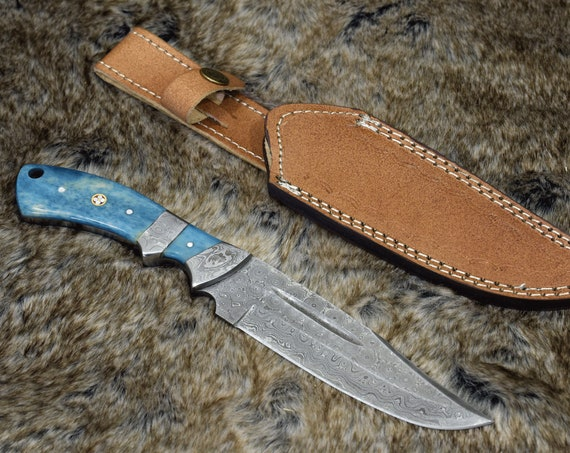 """10.5"""", Damascus knife with Exotic Bone handle hunting / tactical / survival / custom / personalize Damascus steel knife"""