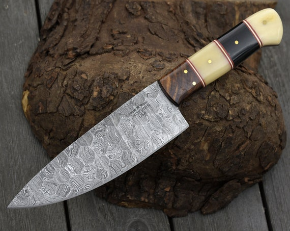 "Personalized chef knife DAMASCUS STEEL BLADE hand forged Damascus steel knife pro chef knife 10"" chef exotic bone horn and rose wood handle"