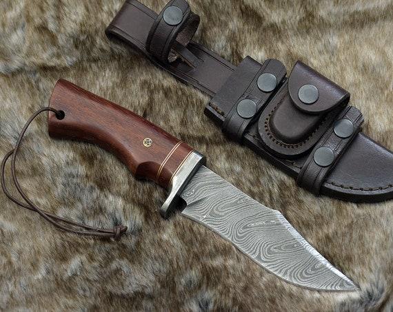 "DAMASCUS KNIFE, CUSTOM Bowie knife, 10.0"" ,Hand Made, Damascus steel hunting knife, Damascus Guard , Exotic Padauk Wood Handle, full tang"