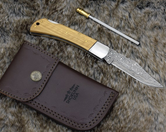 "8.0 "" Custom Folding knife, Damascus Steel clip point blade, handmade, Olive Wood Scales & brushed brass body, lock back pocket knife"