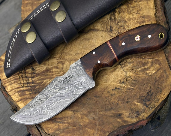 """DAMASCUS STEEL KNIFE, 9"""" inch, Custom, Hunting Knife, Skinning, Skinner knife 9"""" personalized, Exotic Bolivian Rose Wood Composite Scales"""