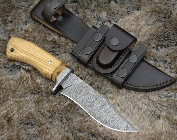 """10"""" PERSONALIZED DAMASCUS KNIFE, Damascus Hunting Knife, custom, Olive wood handle, hand stitched leather sheath"""