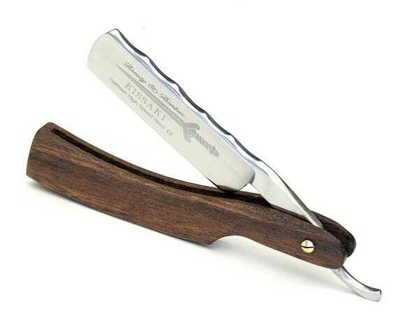 Personalized Classic Straight Razor German high speed steel Mahogany wood handle by B&B