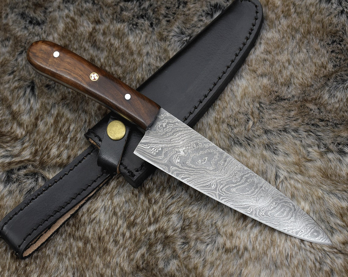 BBQ Knife Gift for her Birthday Gift, Mothers Day Gift Custom Handmade Damascus Steel Chef knife Gift for Him Kitchen knife