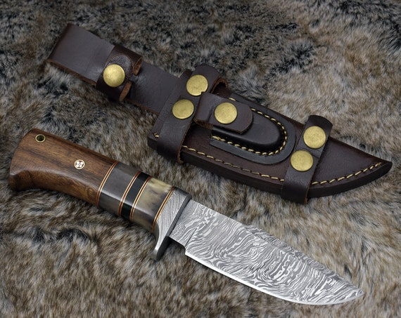 "10"", DAMASCUS KNIFE Personalized DAMASCUS steel knife every day carry clip point blade tactical camping utility hunting knife"