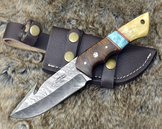 "10"" CUSTOM DAMASCUS GUT Hook Knife, Hunting Fishing Camping Utility Knife, Exotic Rose Wood & Bone Handle personalized gift"