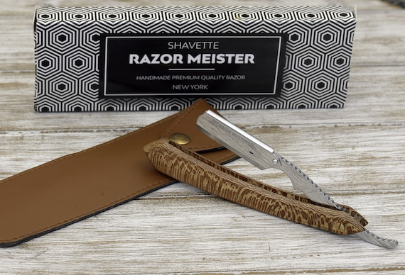 Personalized Straight Razor, Disposable blade Straight Razor, Exotic Leopard Wood Handle, Shave Ready comes with 200 blades