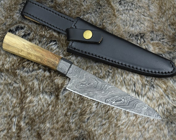 "Personalized 11.5"" DAMASCUS CHEF KNIFE, hand forged Damascus steel blade, Exotic lace wood handle"