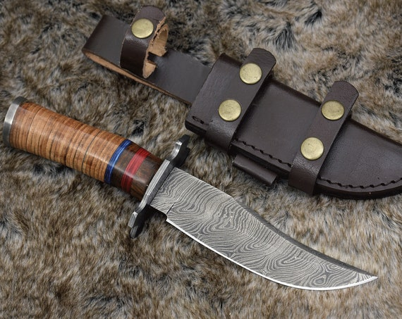 "DAMASCUS HUNTING KNIFE, Custom Bowie knife, 10.5"" ,Hand forged, Damascus steel knife, Stacked Leather & Wood Handle Personalized"