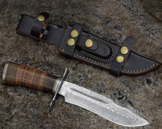 "DAMASCUS HUNTING KNIFE 11"", Drop Point Blade, Damascus Steel Knife, Exotic Rose Wood & Stacked Leather Handle, Hand Stitched Leather Sheath"