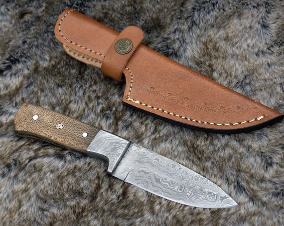 DAMASCUS HUNTING KNIFE,  Handmade, Custom Damascus Steel Skinning Knife, Exotic Leopard Wood Scales, Damascus Guard, Survival, Camping Gift