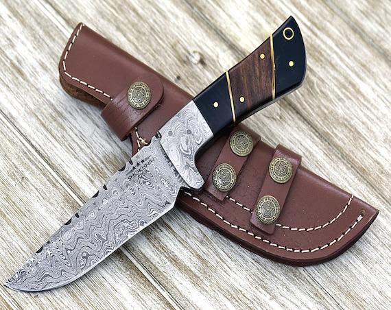 "Custom Damascus steel knife, 9.0""  hunting knife skinner, Bowie knife blade, Bull horn & walnut wood composite handle FIRE DAMASCUS KNIFE"