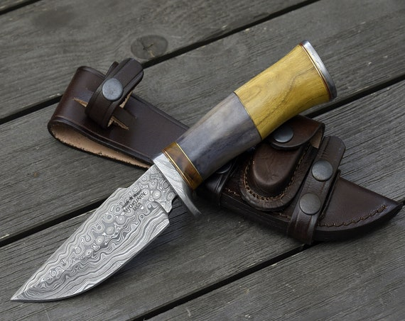 """DAMASCUS BOWIE KNIFE, Custom Hunting knife, 9.75"""" ,Hand Made, Damascus steel knife, personalized gift, Exotic wood bone handle, full tang"""