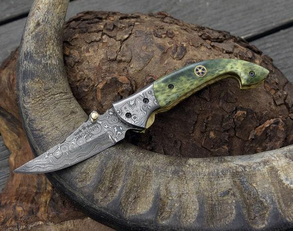POCKET KNIFE, Damascus folding knife, every day carry, Damascus pocket knife, personalized knife, folding pocket knife, camel bone