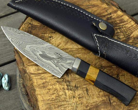 """DAMACUS CHEF KNIFE, Pro chef kitchen knife, 10.5"""" Custom, Exotic Yellow Heart Wood Handle, French chef knife , Damascus Steel knife"""