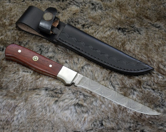 """9.5"""", Damascus Fillet knife with Exotic red heart wood handle Boning / Fishing/  Fillet / Custom / personalized Damascus steel fillet knife"""