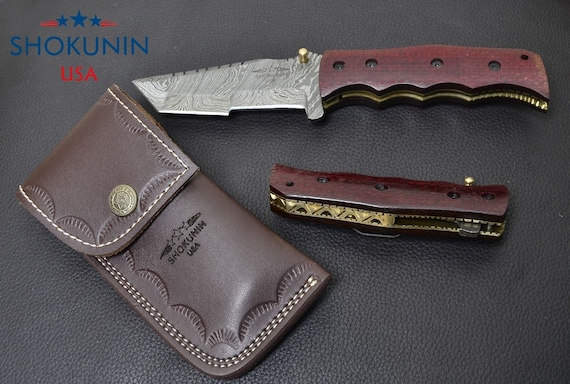 """DAMASCUS FOLDING KNIFE, damascus knife, damascus every day carry, damascus folder Tanto blade pocket knife / with leather sheath 7"""""""