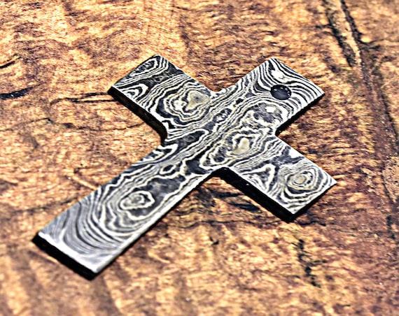 Damascus Pendant, Damascus Cross, Damascus Steel Cross, Damascus Unique Cross, Damascus Necklace, Damascus Chain, Hand Forged Damascus Cross