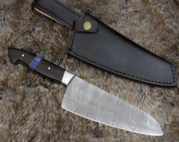 """Personalized 12.5"""" DAMASCUS SANTOKU KNIFE, hand forged Damascus chef knife, Exotic wenge wood & camel bone composite handle"""