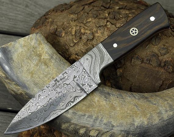 "DAMASCUS KNIFE, CUSTOM hunting knife, 8.0"" ,Hand Made, Damascus steel hunting knife, Damascus Guard, Exotic wenge wood scales"