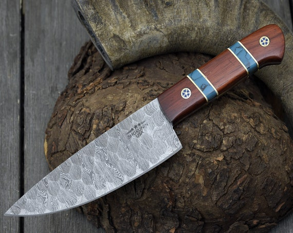 "DAMASCUS CHEF KNIFE, Pro kitchen knife, 10.5"" Custom, Exotic Red Heart Wood handle, French chef knife , Honey Comb Pattern"
