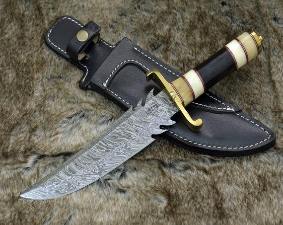 """DAMASCUS KNIFE, CUSTOM Bowie knife, 13.0"""" ,Hand Made, Damascus steel hunting knife, Brass Guard & Pommel, Camel Bone, bull horn, full tang"""