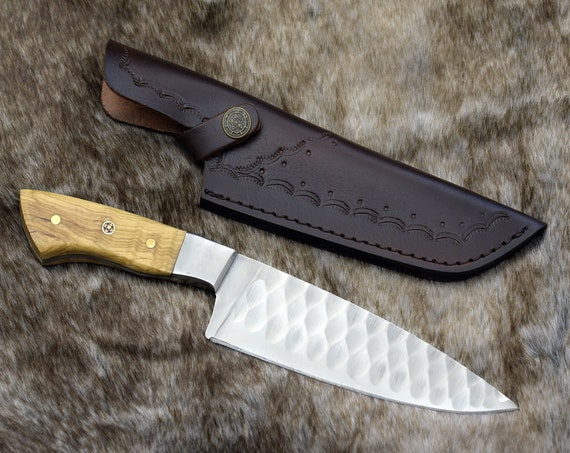 """CHEF KNIFE, 10.5"""", D2 Stainless Steel, Hammered chef knife  custom handmade kitchen knife steel with olive wood handle"""