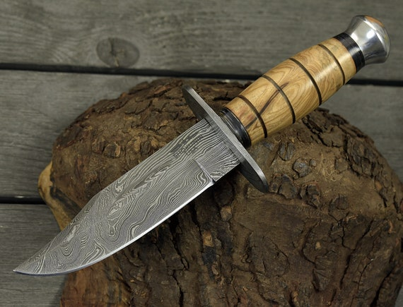 """DAMASCUS KNIFE, CUSTOM, 10.0"""", Hand Made,hunting knife, Survival Combat Tactical Hunting Knife w/ Sheath Military Bowie Fixed Blade engraved"""