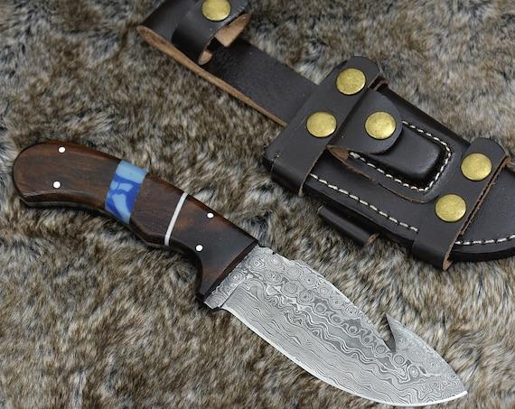 """DAMASCUS HUNTING KNIFE, Custom Damascus knife, 10.0"""" ,Hand forged, Damascus steel Gut Hook Hunting knife, Exotic Rose Wood Handle"""