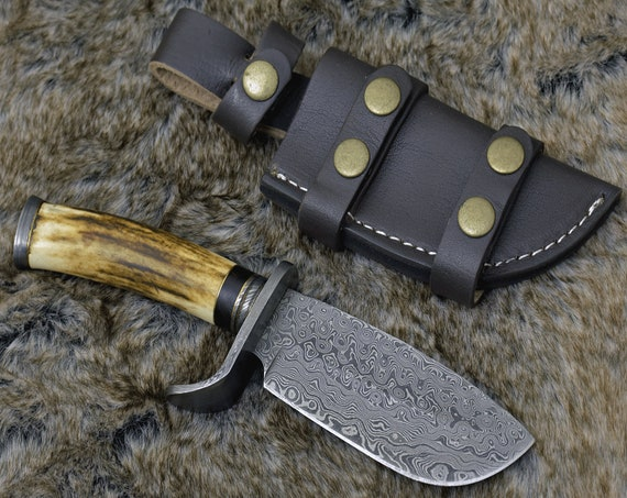 "DAMASCUS HUNTING KNIFE, Custom Damascus knife, 9.0"" ,Hand forged, Damascus steel knife, Damascus Guard, Exotic Stag Horn Handle, Bullnose"