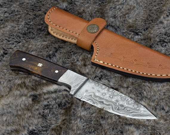 HUNTING knife, HAND FORGED Damascus Steel Knife Skinner Camping Utility Knife Rose Wood Handle Personalized Gift Men