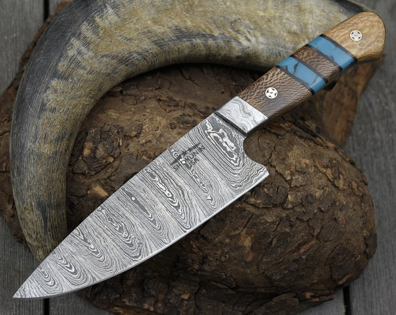 """Personalised, knife, chef's knife DAMASCUS BLADE hand forged DAMASCUS steel knife pro chef knife 10"""" TW22"""