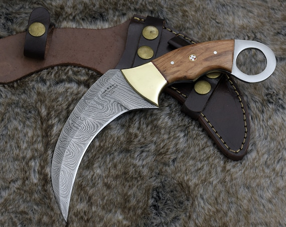 "HUNTING KNIFE, 10"", Damascus Steel KARAMBIT knife w/ sheath, Exotic olive wood handle w/ thumb hole"