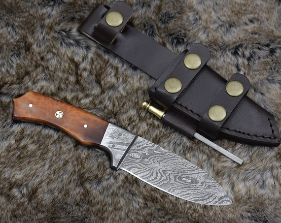 "Odin, Damascus steel knife 8"", Damascus knife, HAND FORGED, skinning knife, hunting camping utility knife 8"" bone handle, personalized"