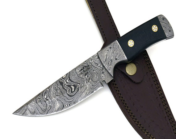 """CONNOR, Damascus Steel 153 Layers with Ram Horn Handle Hunting Knife 9"""" Damascus blade, damascus hunting knife, damascus steel knife"""