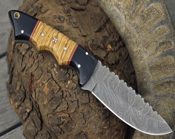 """DAMASCUS KNIFE, DAMASCUS steel knife, custom damascus, hunting knife, steel tactical camping utility hunting knife 9"""""""