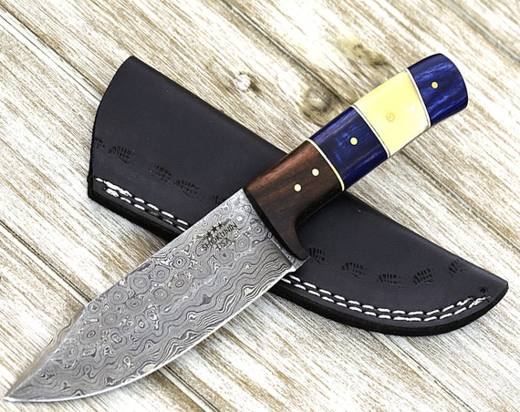 "Damascus knife, Custom 9"", HAND FORGED Damascus steel camp / hunting knife with rose wood & bone handle"