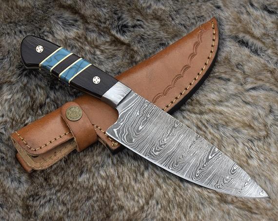 "Chef knife 10.5"" Professional, Damascus knife, French chef knife, Hand forged Damascus steel utility knife pairing knife Exotic Wenge wood"