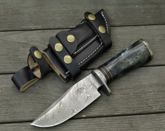"""DAMASCUS HUNTING KNIFE, Custom Bowie knife, 10.5"""" ,Hand Made, Damascus steel knife, personalized gift, Exotic Camel bone handle, full tang"""