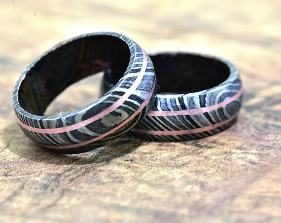 Damascus Ring, Hand Forged & Finished Damascus Steel Ring, Copper Inlay Hand Carved, US size 11 ring, wedding band, engagement ring