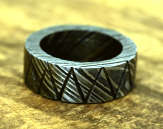 Hand Forged & Finished Damascus Ring, Damascus Steel Ring, Hand Carved, US size 7.5 ring, wedding band, engagement ring, rings, bands