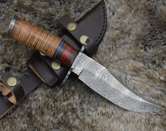 """DAMASCUS HUNTING KNIFE, Custom Bowie knife, 10.5"""" ,Hand forged, Damascus steel knife, Stacked Leather & Wood Handle Personalized"""