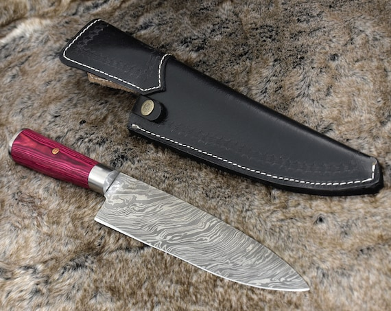 """Personalized 14.5"""" DAMASCUS CHEF KNIFE, Damascus steel French style chefs knife with PakkaWood handle, Leather Sheath"""